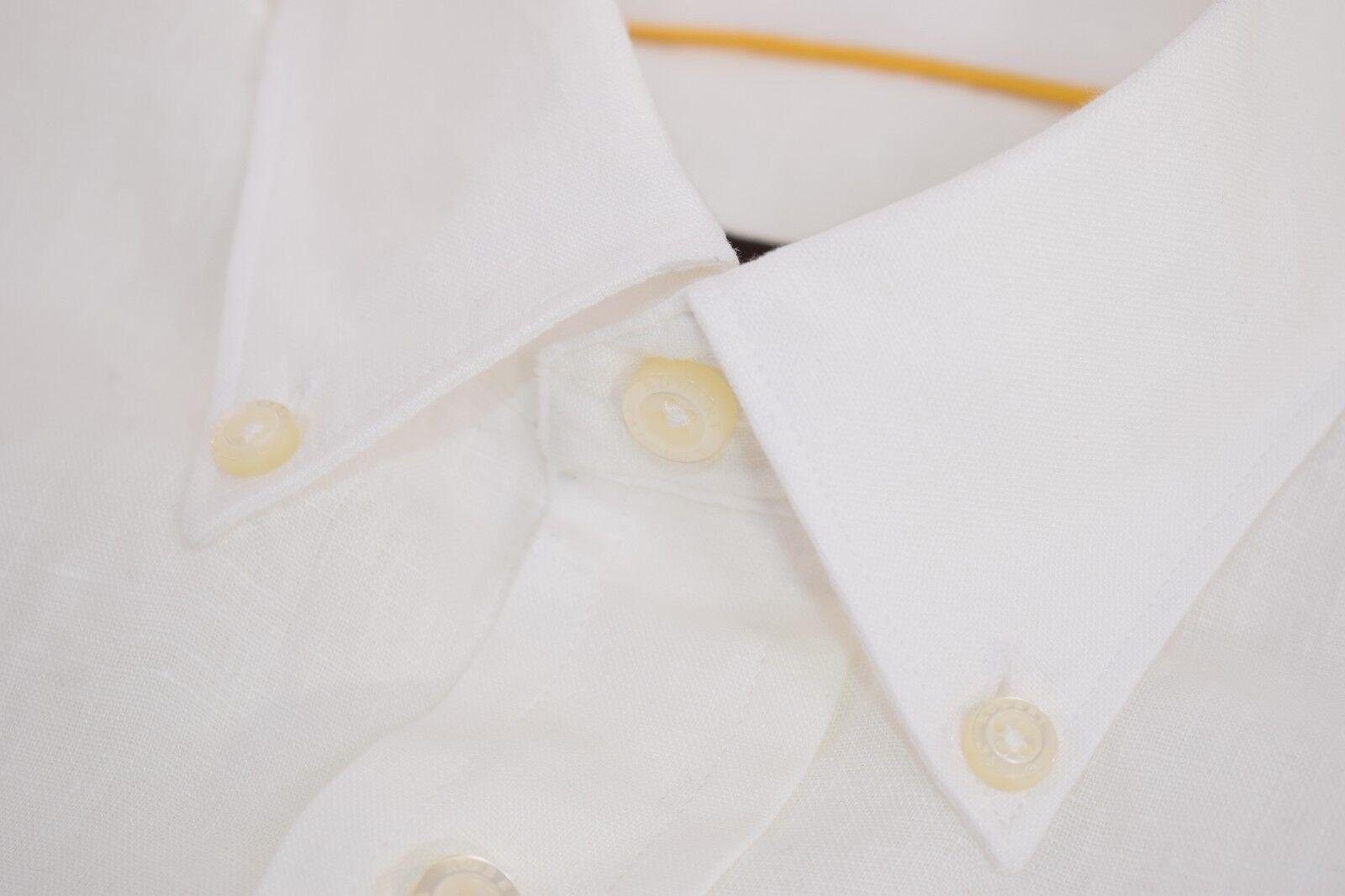 Robert Talbott NWT 100% Linen Button Down Dress Shirt Sz S in Weiß, Current