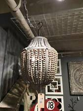 VINTAGE LARGE BOHO STYLE DRAPED GRAY BEADED  WOOD PENDANT CHANDELIER
