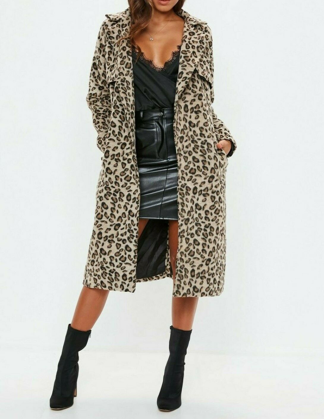 MISSGUIDED Brown Leopard Print Belted Faux Wool Trench US 8 (mgc2)
