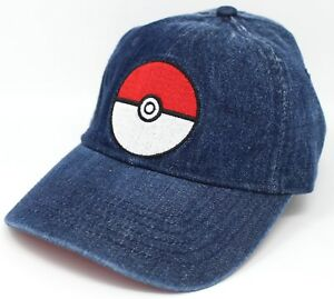 e2c2b845b8f Image is loading Pokemon-Pokeball-Adjustable-Blue-Jean-Dad-Hat-Officially-