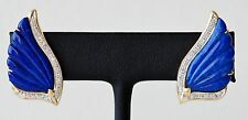14K Yellow Gold Lapis Lazuli & 1/4 CTW Diamond Angel Wing Earrings Omega (01959)