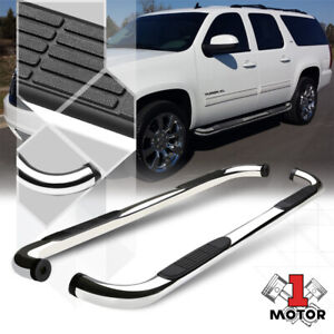 Chrome-3-034-Round-Side-Step-Nerf-Bar-for-00-13-Suburban-Yukon-XL-1500-Avalanche