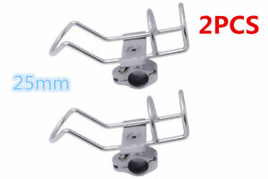 2X Boat Stainless Steel Fishing Rod Holder Clamp-on Rail 25mm 360° Adjustable