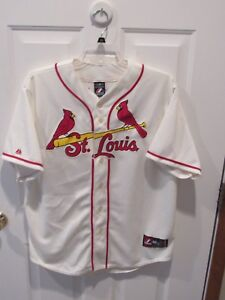 new style ed256 42468 Details about Yadier Molina St. Louis Cardinals Majestic Baseball Jersey  Cream color size XL