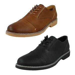 Hommes Thomas Blunt Lacet Bout Rond Brûlé Hangar Cuir Smart Habillé Shoes A2139