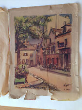 1943 Copy II, Vistage Old Painting Art Montmartre..Place Du Tertre Paris By Atan