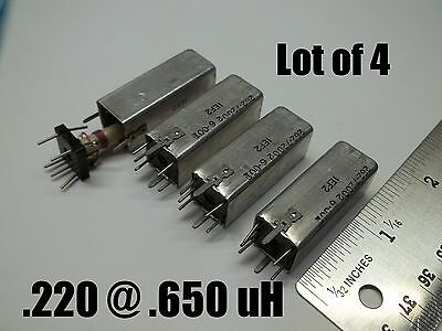 Variable inductor coil .220 @.650 uH, Q=185, shielded can ,Price for 4,  (026)