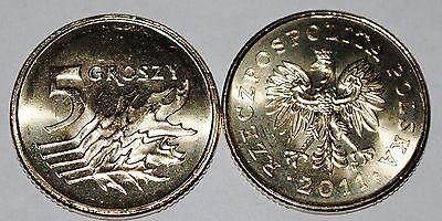 2011 Poland 5 Groszy Brass Coin BU Very Nice KM# 278