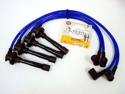 FOR 95-99 NISSAN SENTRA 10.2MM SPARK WIRES NGK PLATINUM G POWER PLUGS BLUE