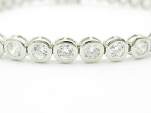Platinum-Sterling-Silver-White-Sapphire-Bezel-Set-Tennis-Bracelet-Triple-Lock