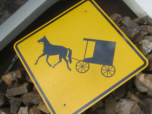 VTG-Amish-Crossing-Horse-and-Buggy-Sign-Large-Yellow-30-034-x-30-034-Aluminum