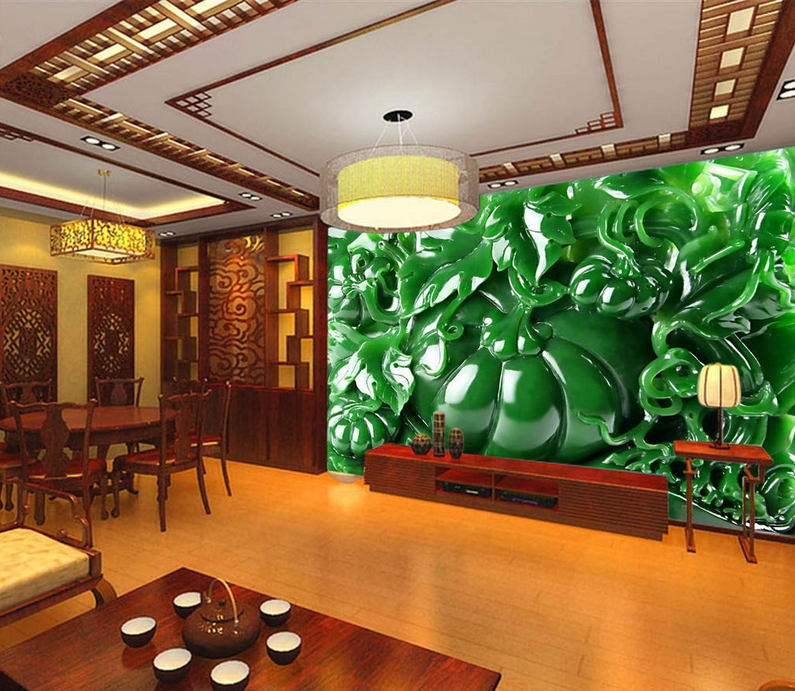 Papel Pintado De Mural De Vellón Calabaza De Pintado Jade Verde 2 Paisaje Fondo De Pantalla 635efa