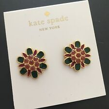 kate spade NY Bold Blooms Green Multi Purple Stud Earrings WBRUA837 NWT Pouch