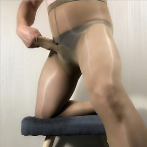 High-Waist-8D-Men-Oil-Shiny-Glossy-Pantyhose-Nylon-Stockings-Tights-Sheath-Open