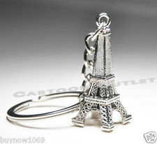 12 EIFFEL TOWER KEY CHAINS BRIDAL SHOWER PARTY FAVORS SILVER 3D FIG QUINCEANERA