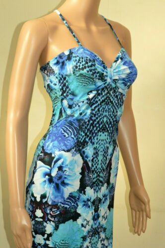 New Lipsy Blue Anaconda /&  Floral Maxi Dress Sz UK 10