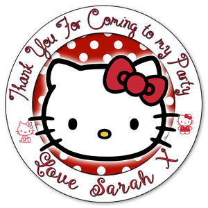 personalised hello kitty birthday party stickers thank you sweet