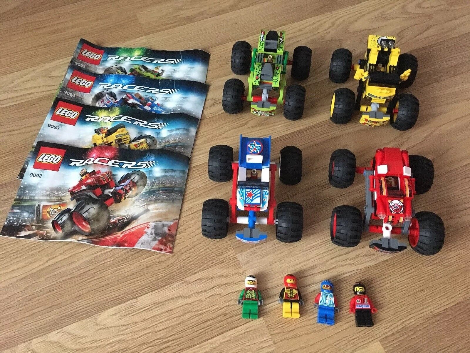 4x LEGO Racers cars CRASHES  No 9092 9093 9094 9095 Racing Cars As Pictured