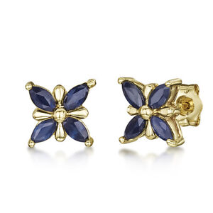 548b21a40 Image is loading 9ct-Gold-Butterfly-Patterned-Blue-Sapphire-Stud-Earrings-