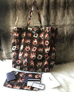 47b32dbb1f Details about NWT Authentic PRADA Floral Print reversible Nylon Shopper  Tote Bag In Down Brown