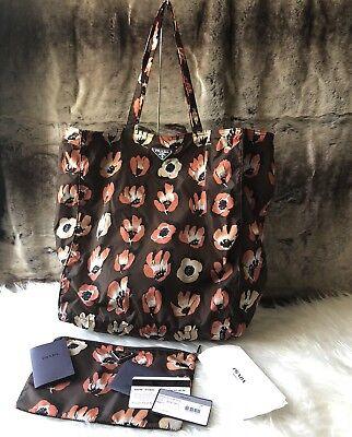 56082c17790d NWT Authentic PRADA Floral Print reversible Nylon Shopper Tote Bag In Down  Brown