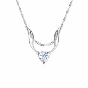 Guardian Angel Wings Necklace Heart with Swarovski Crystals 18K White Gold ITALY