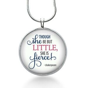 Shakespeare-Quote-necklace-Little-she-is-Fierce-Library-Pendant-Teacher-gift