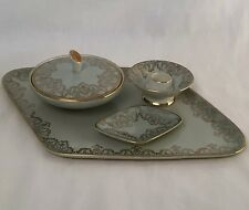 Vintage antique deco 4 piece vanity set Alka Bavaria German tray candlestick
