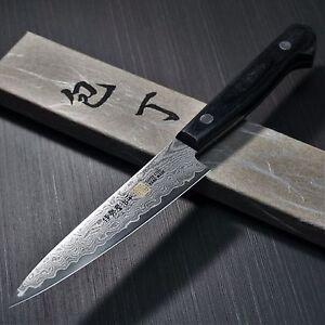 Inquiet Japonais Seto Iseya 33 Couches Damascus Utilitaire Vg10 Petty Couteau 120 Mm Japan G-1-afficher Le Titre D'origine Brillant En Couleur