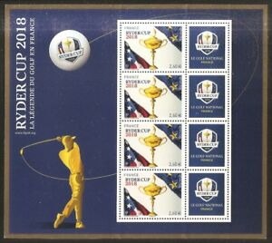 France bloc slip ryder cup 2018 new blue background ** mnh luxe