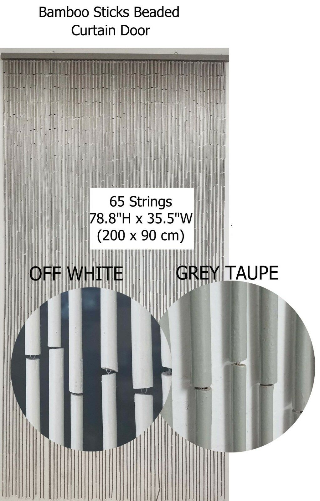 """Evideco Flat Beaded Curtain Doorway 30 Strings 78.8/""""H x 35.5/""""W Silver white ..."""