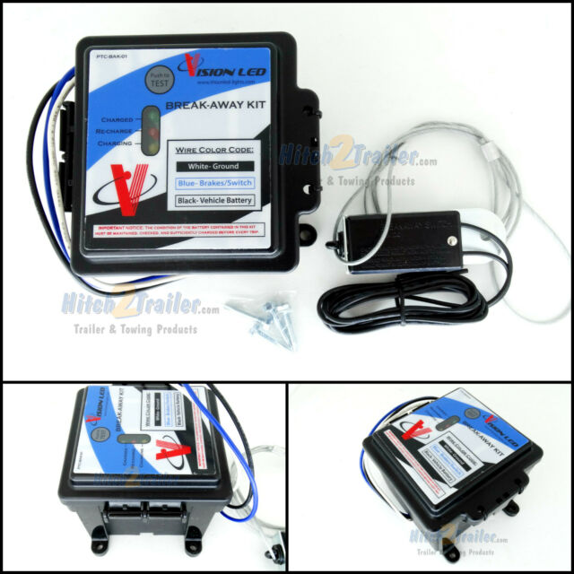 Complete Towing Break Away Kit w// Meter 12V 5AH Battery Switch and Charger