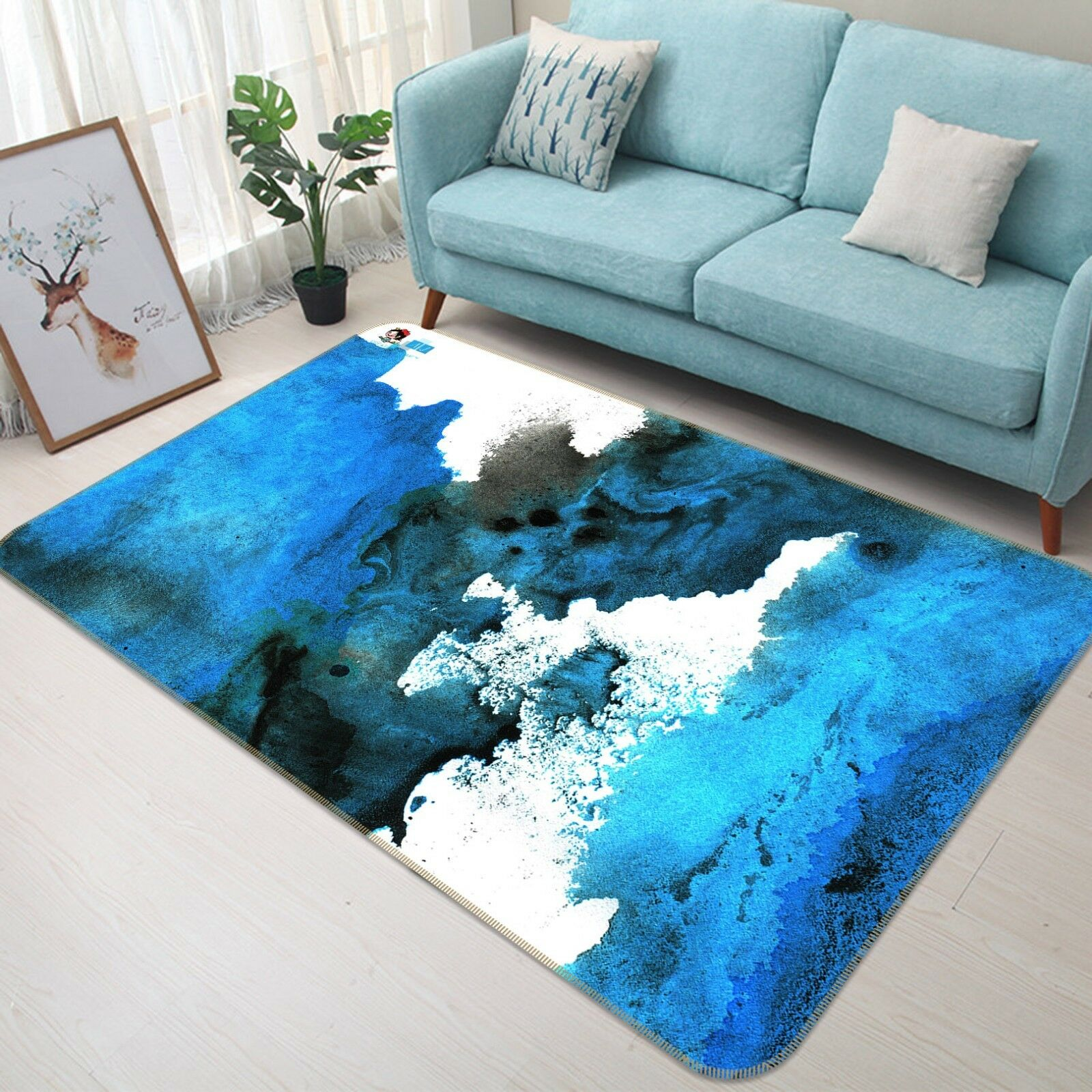 3D Tinta Azul Alfombra colchoneta de 9 Graffiti Antideslizante Alfombra De Sala Elegante De Calidad Foto Alfombra