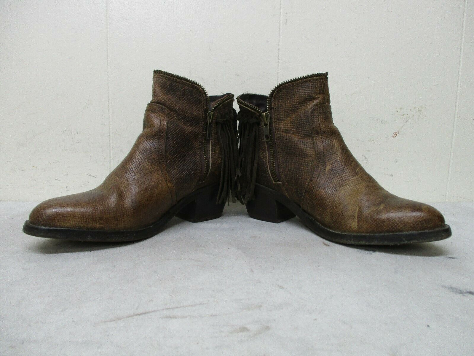 Circle G Distressed Brown Leather Zip Fringe Ankle Ankle Ankle Cowboy Boots Sz 6 M Sty P5121 828622