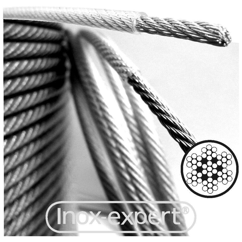 VA-Seil 1,0 mm 7x7 mit PVC-Ummantelung 1,5 mm transparent Edelstahl A4 Drahtseil