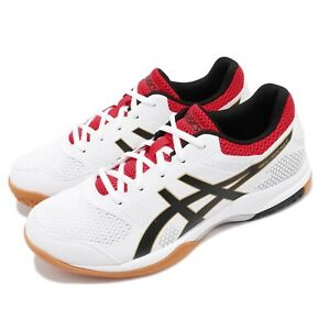 Asics-Gel-Rocket-8-White-Black-Red-Gum-Men-Volleyball-Badminton-Shoes-B706Y125