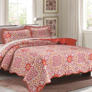 "NIB Glory Home Design "" EMMA "" 3 Pc Queen Size Reversible Quilt w/ Shams"