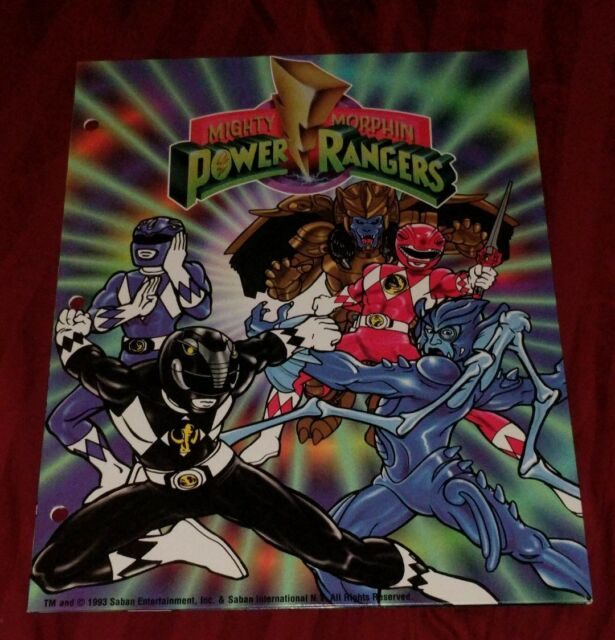 1993 MIGHTY MORPHIN POWER RANGERS Vintage LOT 3 School FOLDERS Saban 3-Ring