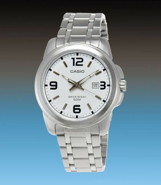 Casio Mens White Neo Display Date Watch Stainless Steel Band MTP-1314D-7AV New