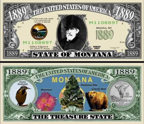 classic State of Montana Dollar Bill Fake Funny Money Novelty Note FREE SLEEVE