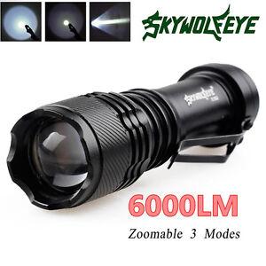 6000LM-Q5-AA-14500-3Mode-ZOOM-LED-Super-Bright-Flashlight-MINI-Police-Torch