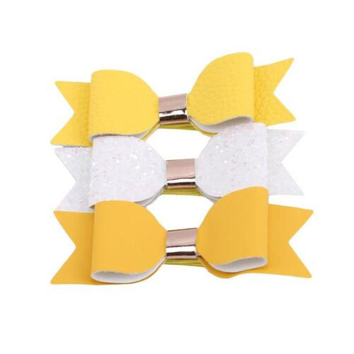 3PCS Handmade GirlsGlitter Hair Clip Bow Accessory Glitter Hair Bow Clip T
