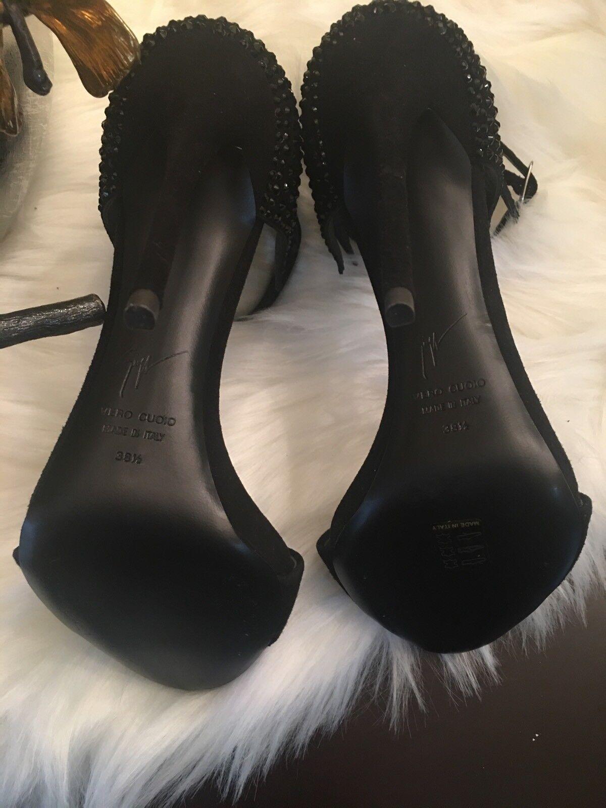 Giuseppe Zanotti New Black Suede Swarovski  Evening Evening Evening Sandals Heels Sz 38.5 e7946e
