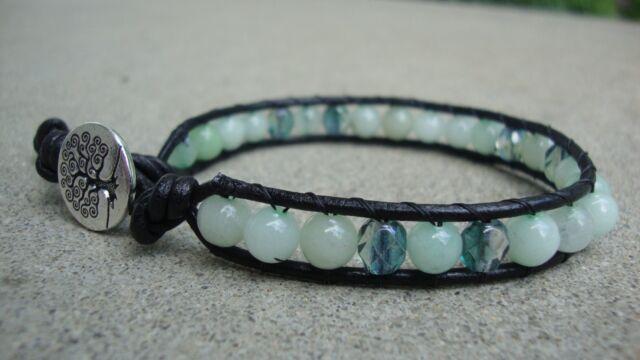 Seafoam Quartz Gemstone Beaded Wrap Leather Bracelet handmade USA