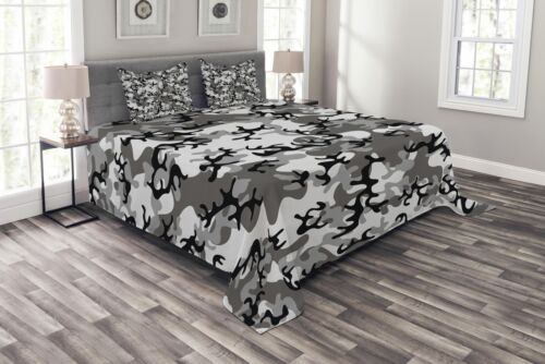 Details about  /Camouflage Quilted Bedspread /& Pillow Shams Set Camouflage Concept Print