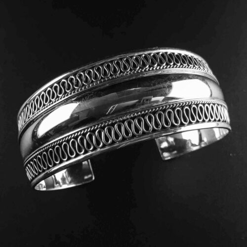 Metaball Pattern Rounded Solid 925 Sterling Silver Bangle//Cuff-102 Polished