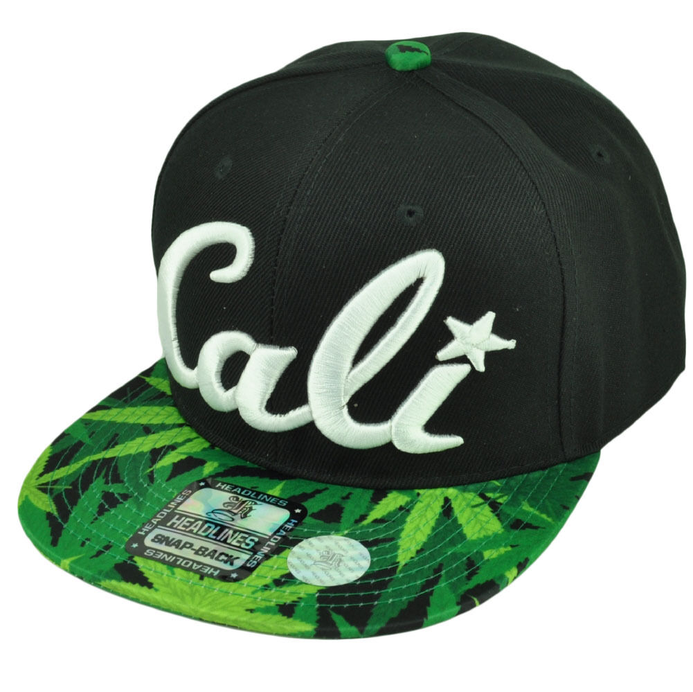Cali California Cap 3D Hawaiian Floral Flower Brim Hat Cap California Snapback Marijuana Leaves 797099