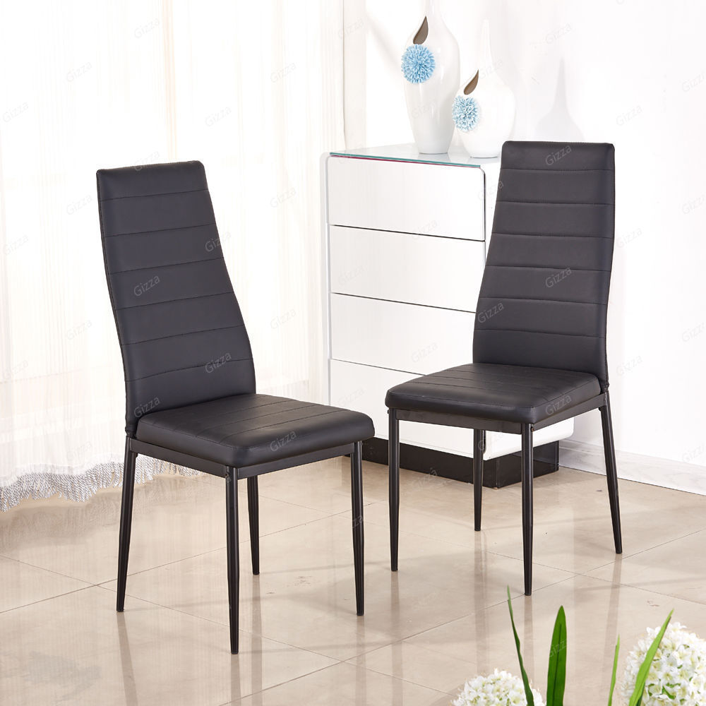 line high back dining chairs set black faux leather solid metal ebay