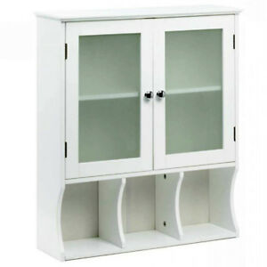 Wood Wall Cabinet White Medicine Office Shelves Frosted ...