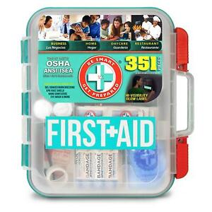 NEW 351 pc Emergency First Aid Kit Case Home Organizer Workplace Survival OSHA